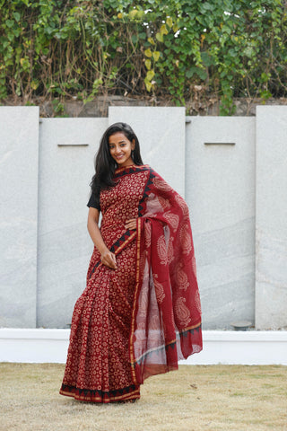 Cherry And Garnet Red Sari - The Ethnic Fix - Dubai - UAE
