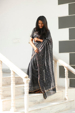 Black Chanderi Cotton Sari - The Ethnic Fix - Dubai - UAE