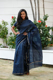 Indigo Square Chanderi Cotton Sari