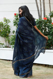 Indigo Square Chanderi Cotton Sari - The Ethnic Fix - Dubai - UAE