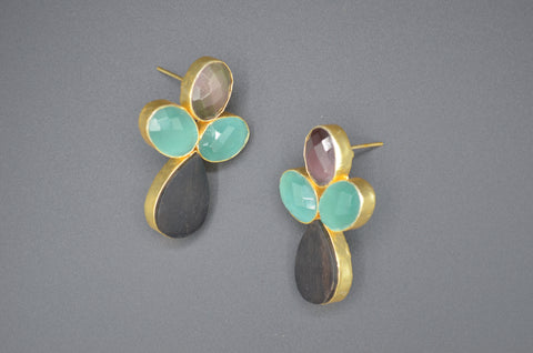 Moonstones and Wood Pastel Earrings - The Ethnic Fix - Dubai - UAE