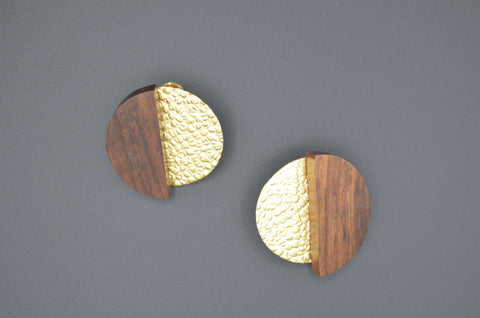 Wood and Gold Round Studs - The Ethnic Fix - Dubai - UAE
