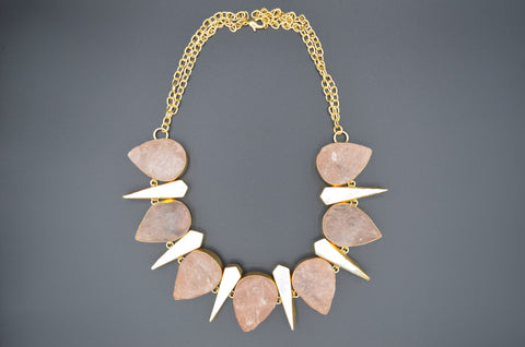 Raw Rose Quartz and Mother of Pearl Necklace - The Ethnic Fix - Dubai - UAE