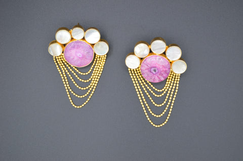 Agate and Mother of Pearl Earrings - The Ethnic Fix - Dubai - UAE