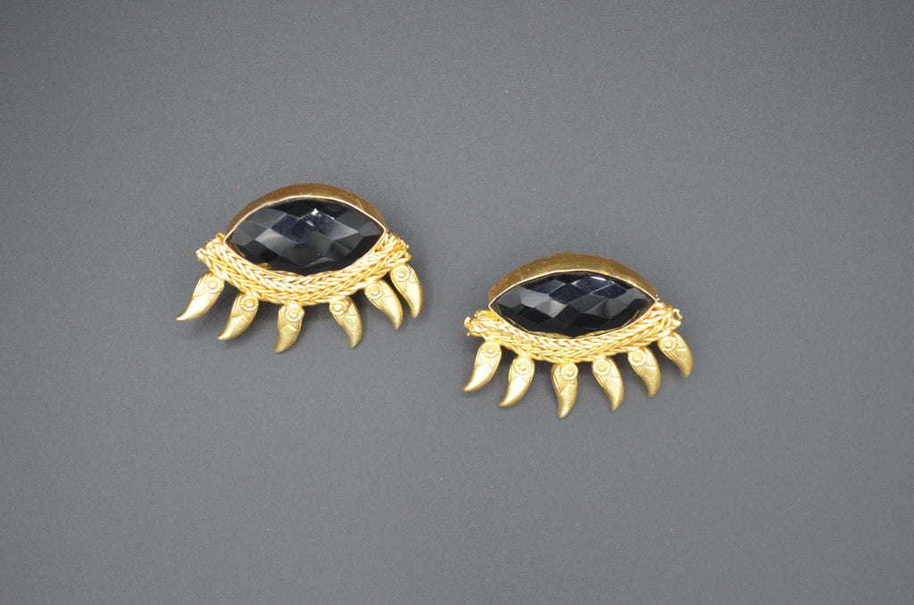 Evil Eye Onyx Earrings - The Ethnic Fix - Dubai - UAE