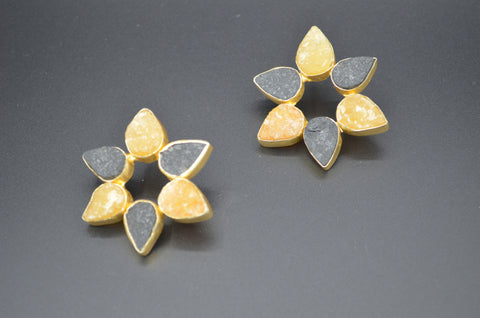 Raw Citrine Flower Earrings