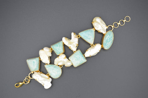 Baroque Pearl and Amazonite Bracelet - The Ethnic Fix - Dubai - UAE