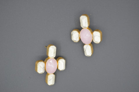 Rose Quartz and White Bhatti Stone Earrings - The Ethnic Fix - Dubai - UAE