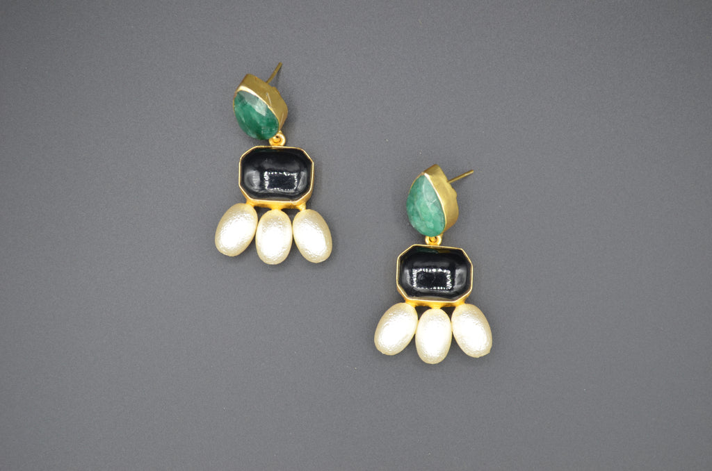 Emerald, Pearl and Onyx Earrings - The Ethnic Fix - Dubai - UAE