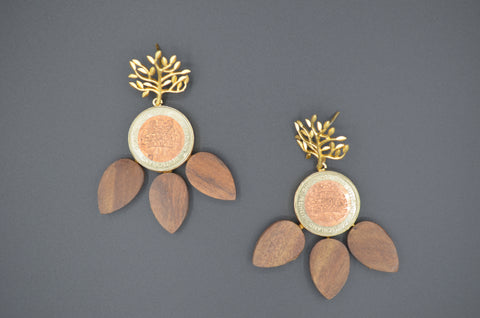 Wood and Coin Tree Earrings