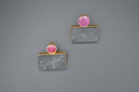 Ruby with Raw Obsidian Studs