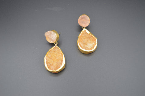 Raw Rose Quartz and Citrine Danglers - The Ethnic Fix - Dubai - UAE