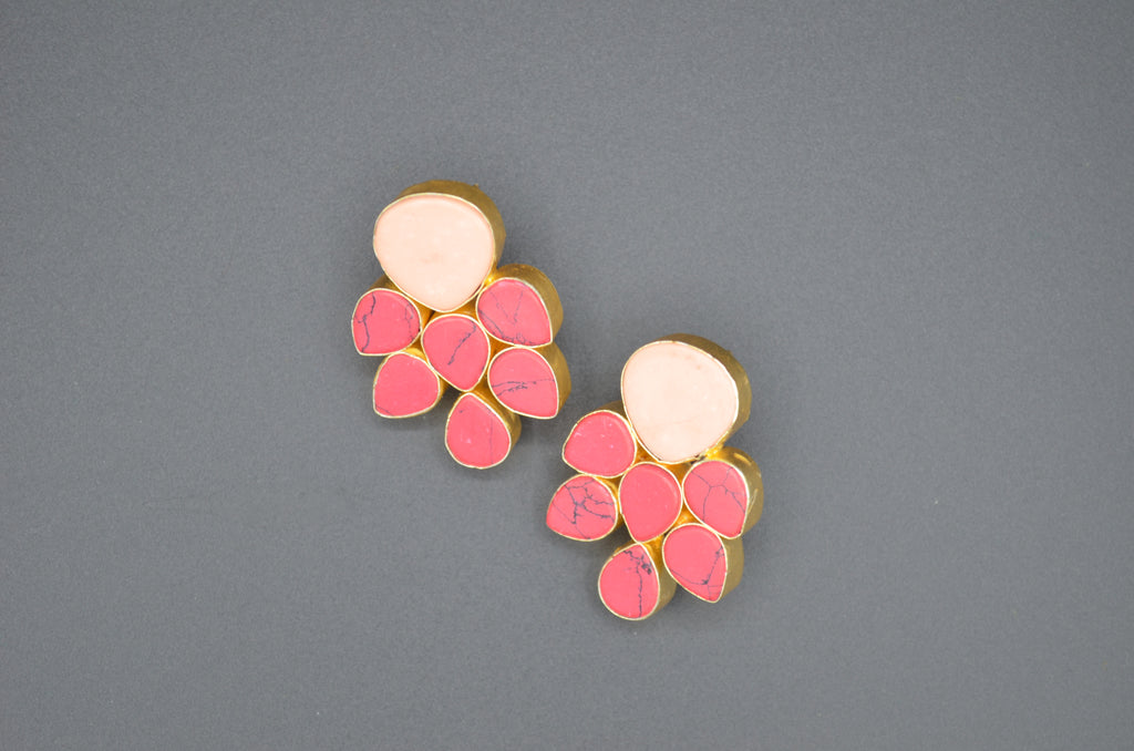 Coral Large Studs - The Ethnic Fix - Dubai - UAE