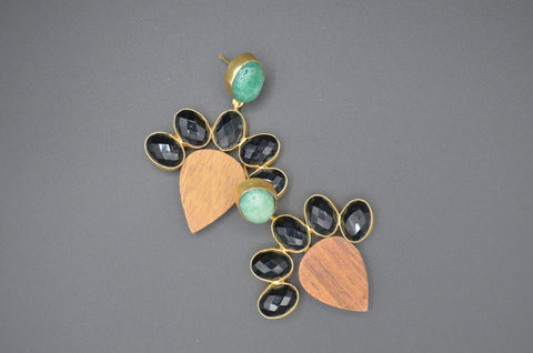 Wood, Onyx and Jade Earrings - The Ethnic Fix - Dubai - UAE