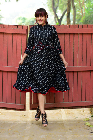 Black Ikat Midi Dress - The Ethnic Fix - Dubai - UAE