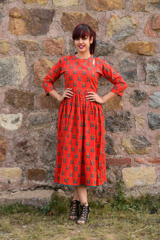 Red Phoolbuti Dress - The Ethnic Fix - Dubai - UAE
