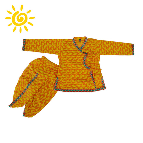 Yellow Paisley Angrakha Set with Embroidered Border - The Ethnic Fix - Dubai - UAE