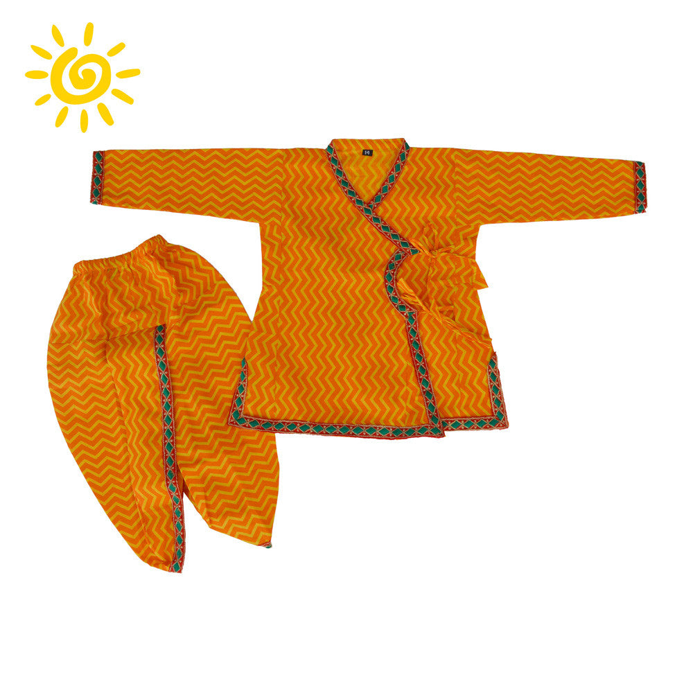 Yellow Chevron Angrakha Set with Embroidered Border - The Ethnic Fix - Dubai - UAE