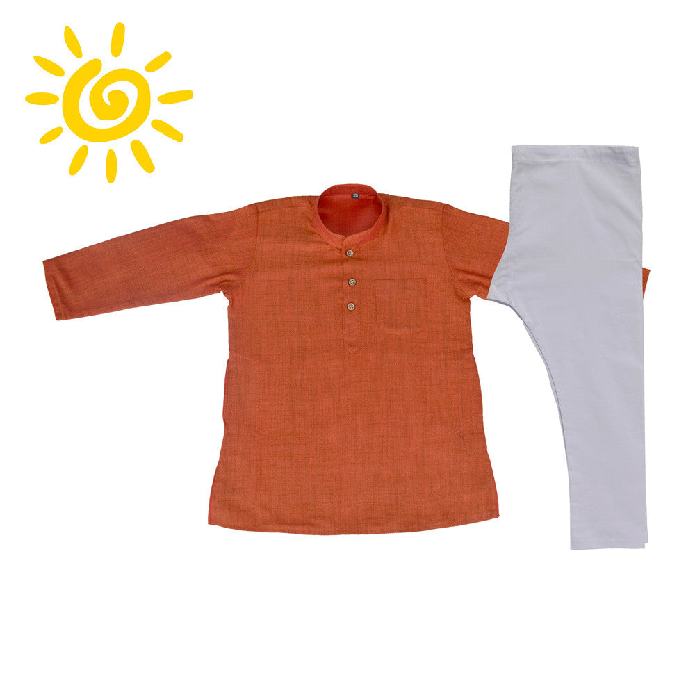 Vibrant Orange Jute Silk Kurta Set - The Ethnic Fix - Dubai - UAE