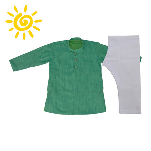 Vibrant Green Jute Silk Kurta Set - The Ethnic Fix - Dubai - UAE