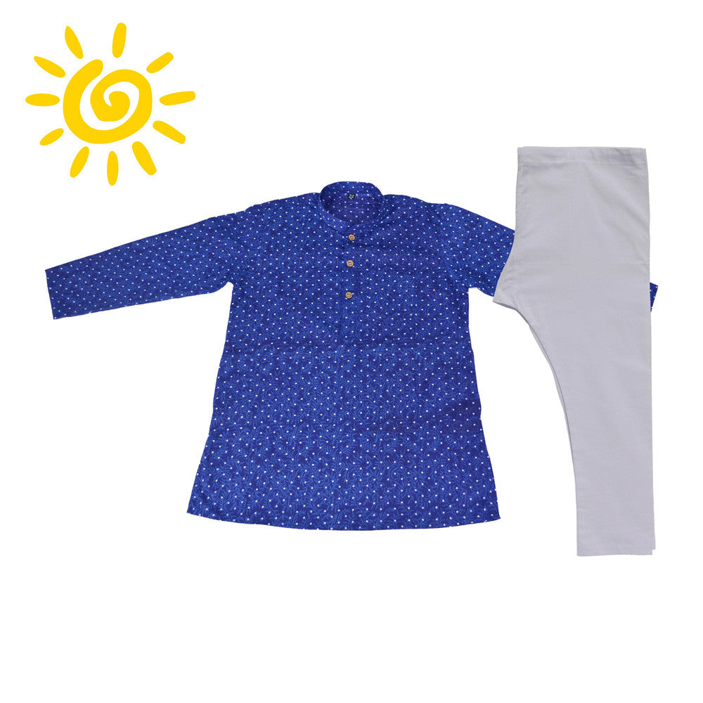 Royal Blue Polka Dot with Light Floral Design Cotton Kurta Set - The Ethnic Fix - Dubai - UAE