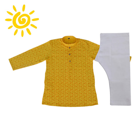 Yellow Floral Cotton Kurta Set - The Ethnic Fix - Dubai - UAE