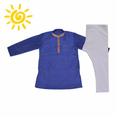 Royal Blue Raw Silk Zari Embroidered Collar Kurta Set - The Ethnic Fix - Dubai - UAE