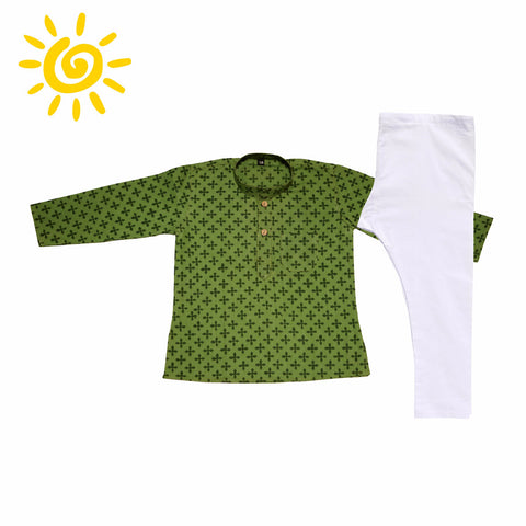 Light Green Four Leaf Clover Cotton Printed Kurta Set - The Ethnic Fix - Dubai - UAE
