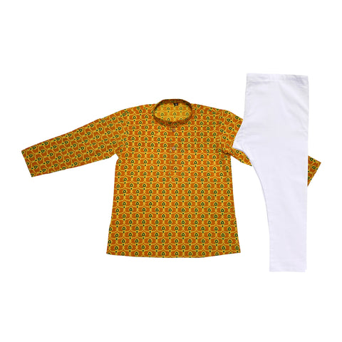 Green Mustard Yellow Cotton Printed Kurta Set - The Ethnic Fix - Dubai - UAE