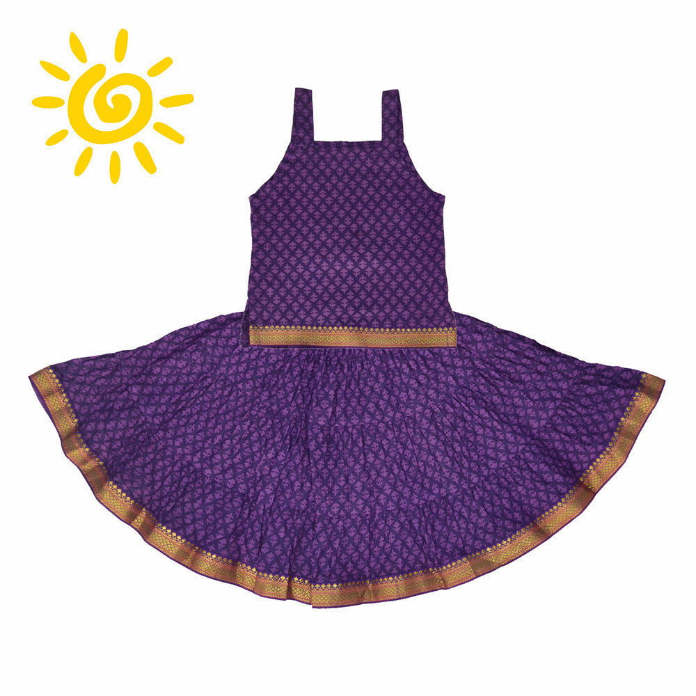 Purple Cornflower Cotton Skirt & Blouse - The Ethnic Fix - Dubai - UAE