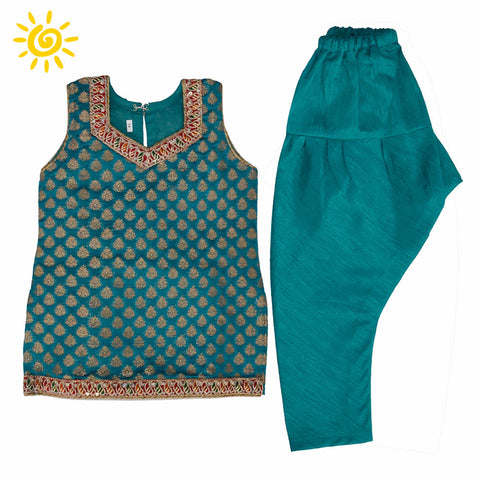 Teal Brocade Suit - The Ethnic Fix - Dubai - UAE