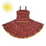 Maroon & Grey Floral Cotton Skirt & Top - The Ethnic Fix - Dubai - UAE