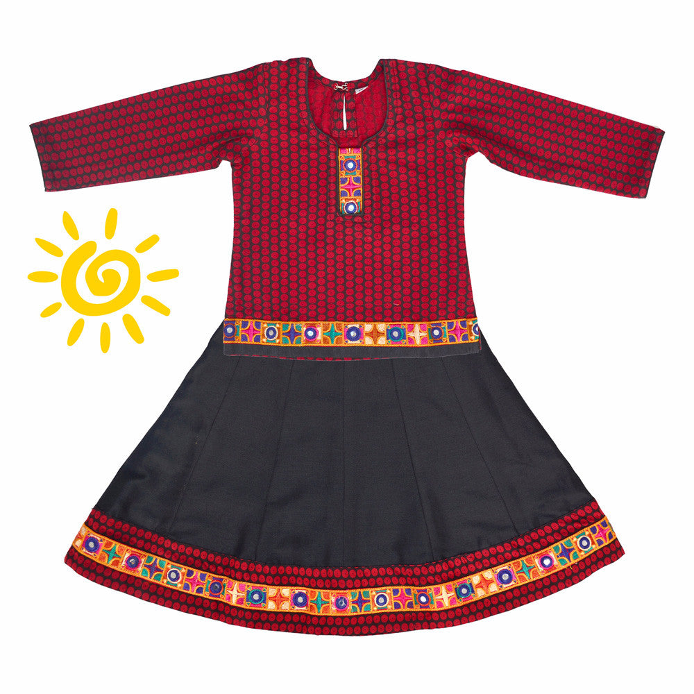 Maroon & Black Button Cotton Lehenga & Blouse with Mirror Embroidered Border - The Ethnic Fix - Dubai - UAE