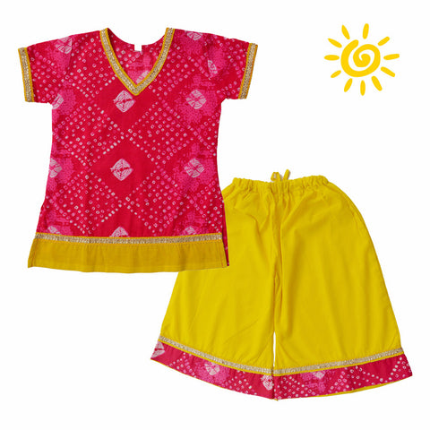 Pink & Yellow Cotton Bandhani Pallazo Set - The Ethnic Fix - Dubai - UAE