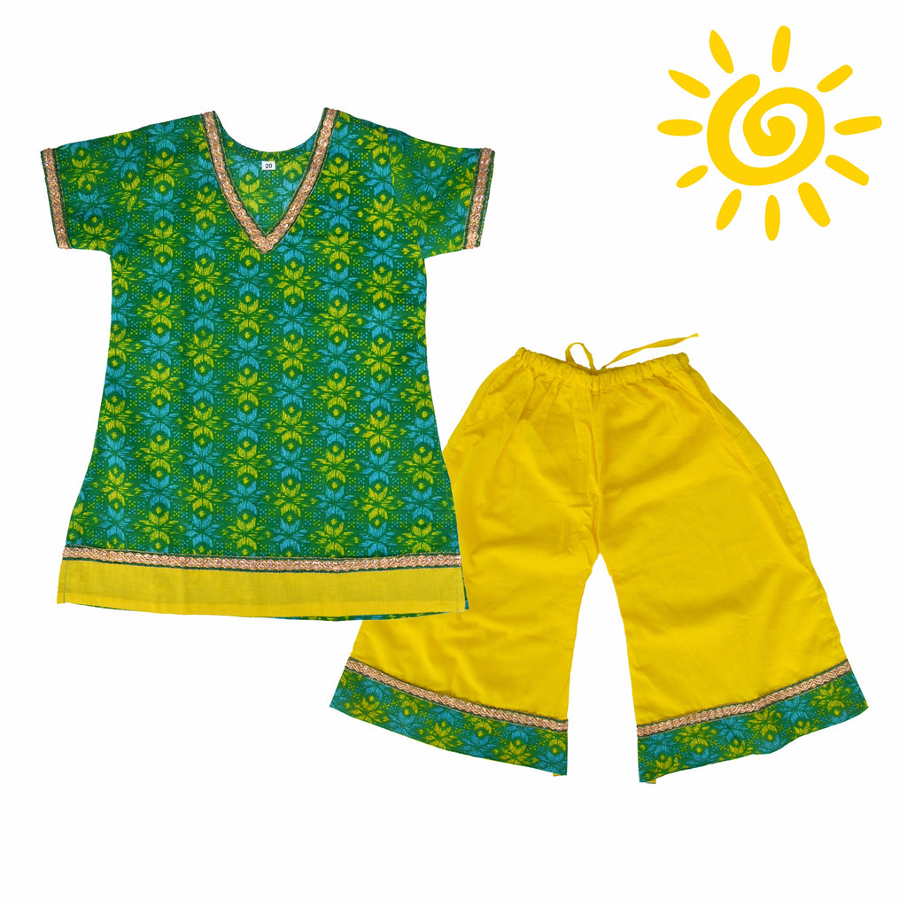 Green & Yellow Floral Cotton Bandhani Pallazo Set - The Ethnic Fix - Dubai - UAE
