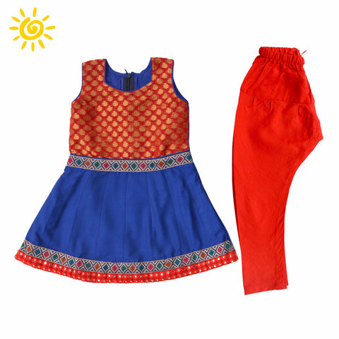 Red & Blue Brocade Motif Cotton Anarkali Suit with Embroidered Mirror Border - The Ethnic Fix - Dubai - UAE