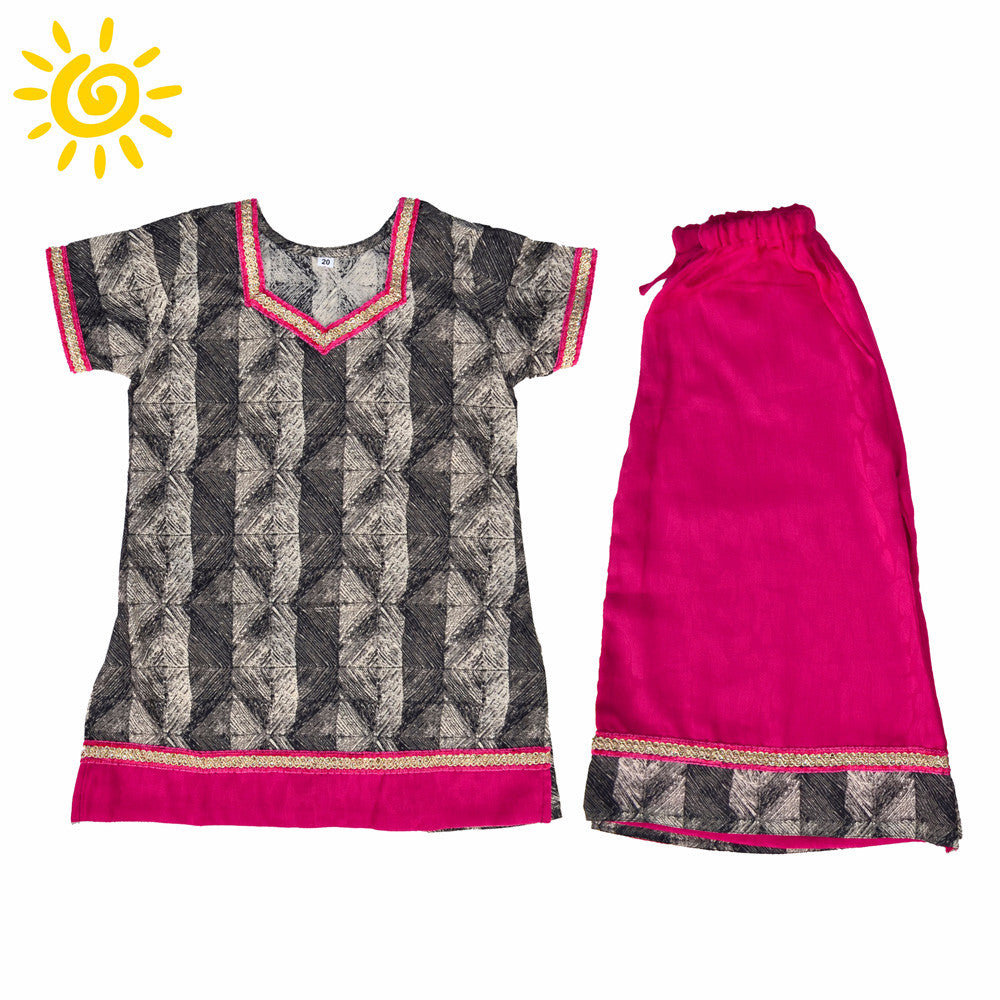 Grey & Pink Cotton Bandhini Pallazo Set - The Ethnic Fix - Dubai - UAE