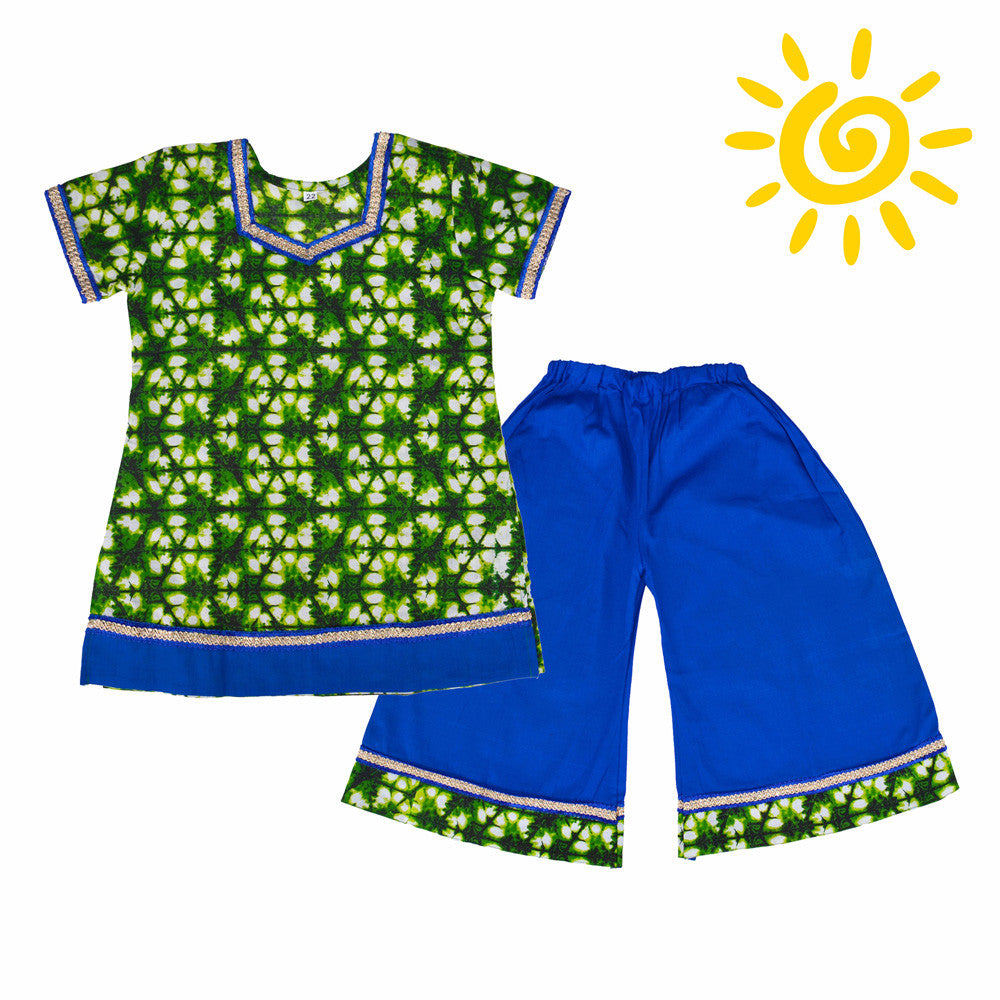 Green & Blue Cotton Pallazo Set - The Ethnic Fix - Dubai - UAE