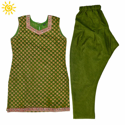 Mehendi Green Brocade Suit - The Ethnic Fix - Dubai - UAE