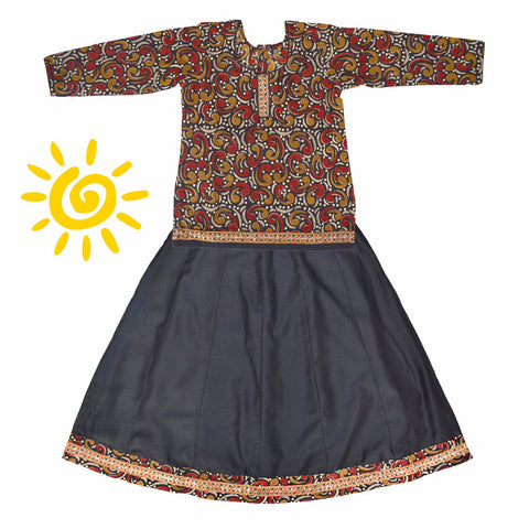 Black & Brown Paisley Cotton Lehenga & Blouse with Sequenced Border - The Ethnic Fix - Dubai - UAE