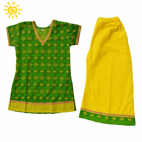 Green & Yellow Wave Cotton Pallazo Set - The Ethnic Fix - Dubai - UAE
