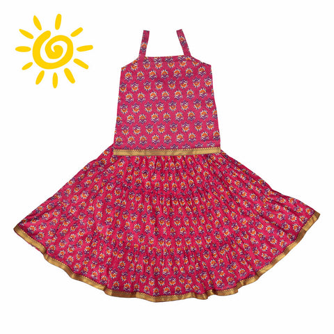 Pink & Orange Floral Cotton Top & Skirt - The Ethnic Fix - Dubai - UAE