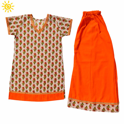 Cream & Orange Cornflower Cotton Top & Skirt - The Ethnic Fix - Dubai - UAE