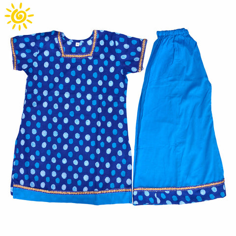 Blue Polka Dots Cotton Top & Skirt - The Ethnic Fix - Dubai - UAE