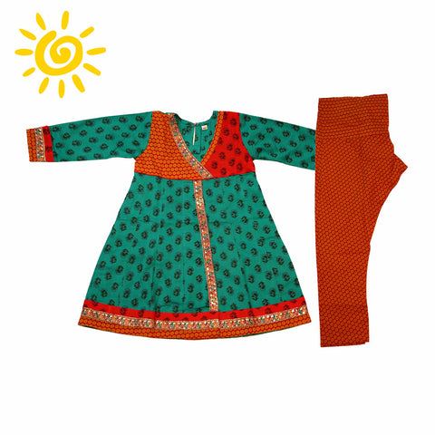 Green & Red Cotton Printed Anarkali Suit - The Ethnic Fix - Dubai - UAE