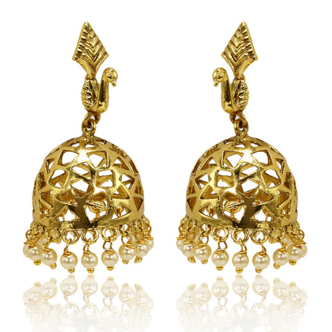 Gold Finish Peacock Jhumki Earrings - The Ethnic Fix - Dubai - UAE