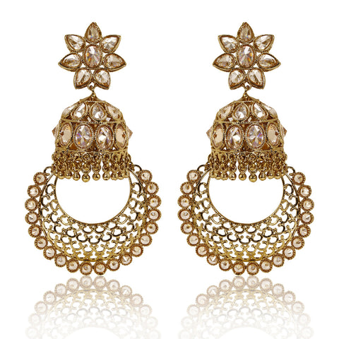 Gold Finish Polki Flower Top Jhumki with Detailed Polki Hoop Earrings - The Ethnic Fix - Dubai - UAE