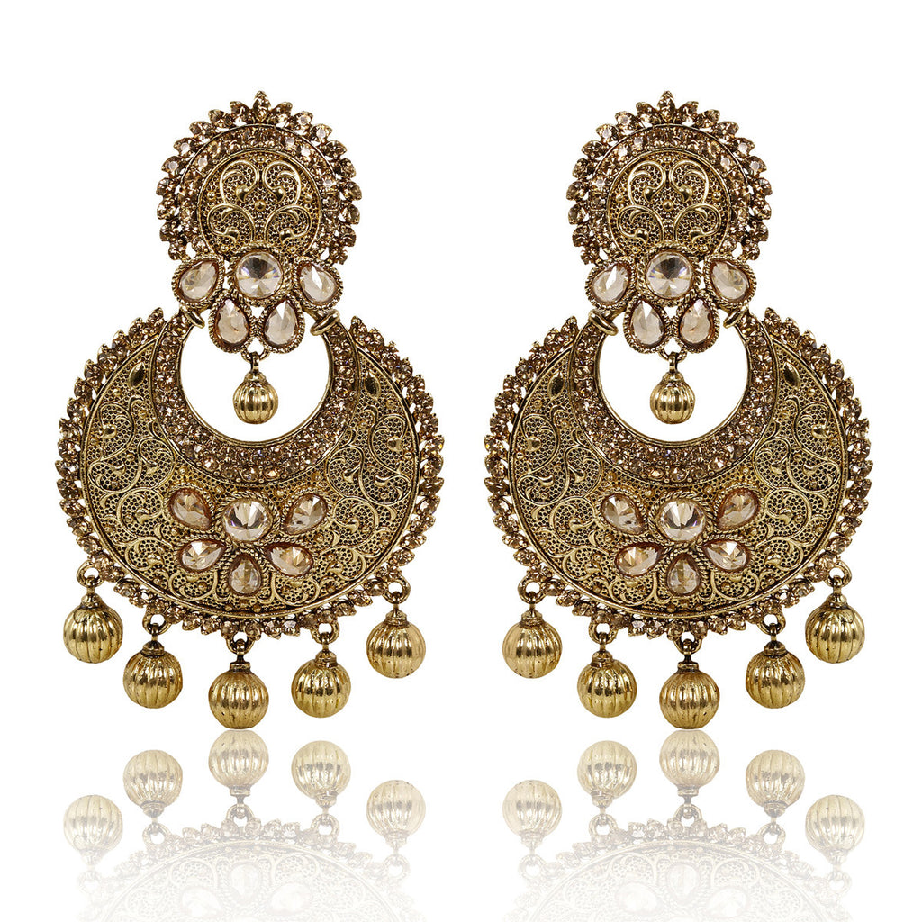 Gold Finish Antique Wire Earrings with Golden Stones - The Ethnic Fix - Dubai - UAE