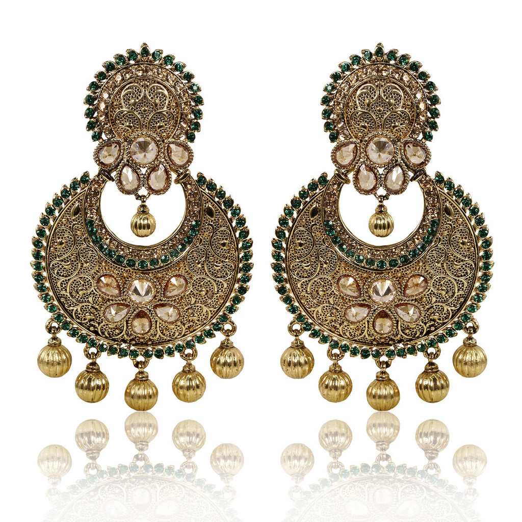 Gold Finish Antique Wire Earrings with Green and Golden Stones - The Ethnic Fix - Dubai - UAE