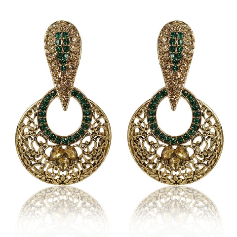 Gold Finish Spear Head Wire design Earrings with Green & Golden Stones - The Ethnic Fix - Dubai - UAE